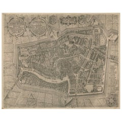 Antique Map of Leeuwarden 'Friesland, The Netherlands' by P. Bast, 1603