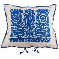 Transylvanian Embroidered Blue Cushion