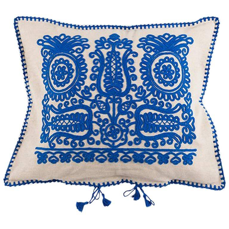 Transylvanian Embroidered Blue Cushion 1