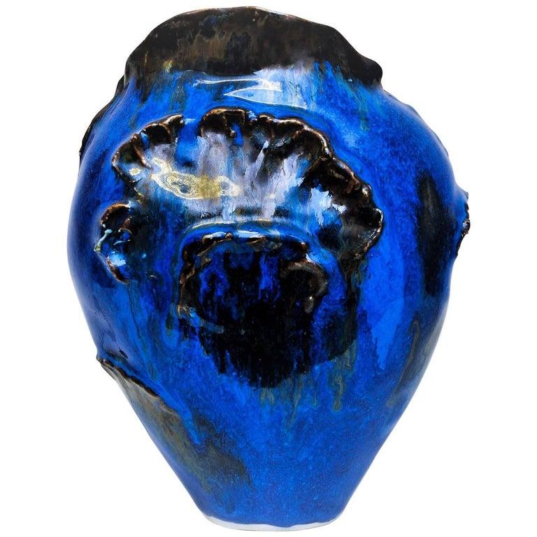 Blue Cheramic Vase, Leif Heiberg Myrdam, Norway
