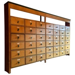 20th Century French Painted Pine Haberdashery Chest of Drawers Cabinet