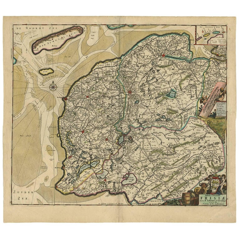 Antique Map of Friesland 'the Netherlands' by F. De Wit, circa 1730 For Sale