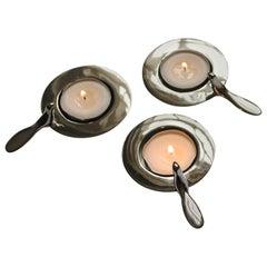 Set of Three One Bird Nickel-Plated Tea Light Holders