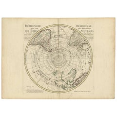 Antique Map of the Southern Hemisphere by G. de L'Isle, circa 1783