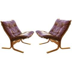 Ingmar Relling Pair of Siesta Sling Lounge Chairs in Leather for Westnofa