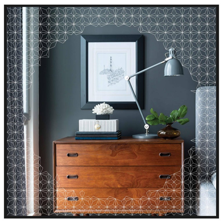 Estrella Mirror, Finely Etched Pattern Back-Illuminated with Black Frame