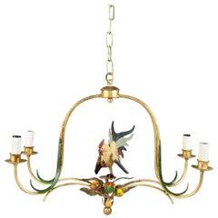 Mid-20th Century, Gilding Bras and Polychrome Ceramic Spanish Ceiling Lamp