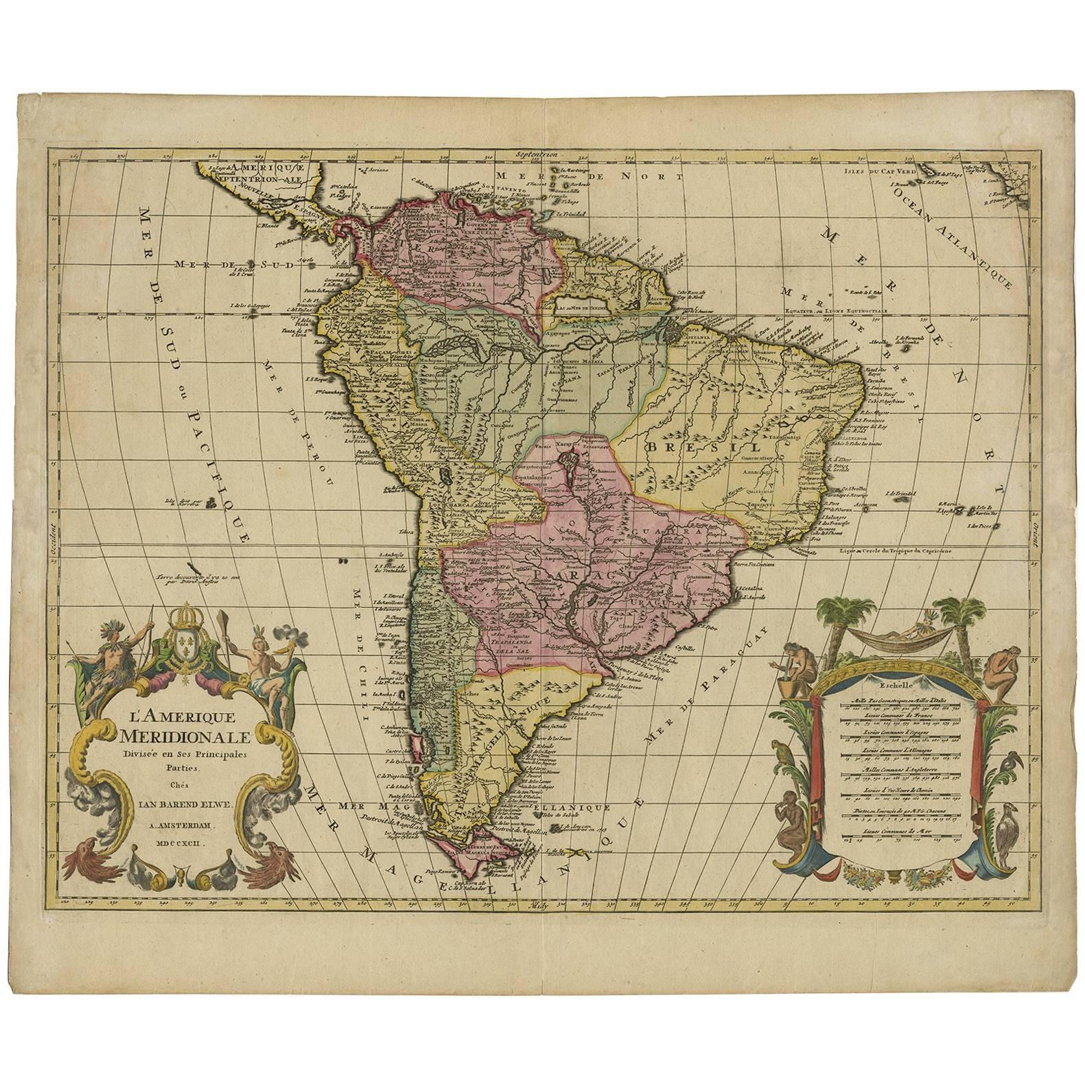 Antique Map of South America by J.B. Elwe, '1792'