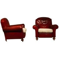 Pair of English Club Armchairs