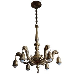 Stunning Bronze & Brass Mythological & Stylized Seahorse Chandelier or Pendant