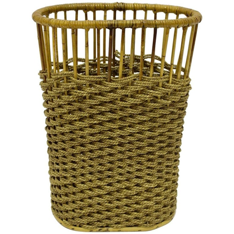 Rattan Paper Basket Austria, circa 1960