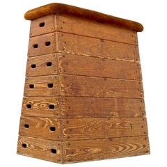 Wood and Suede Gymnastic Jump Box, 1960s