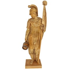 Wooden Folk Art Huge Hand Carved Figure Saint Florian, 18th Century, Austria