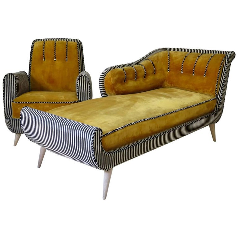 Daybed and Two Armchairs, France, circa 1940s