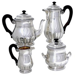 Puiforcat Sterling Silver 18-Karat Gold Tea Pot, Coffee Pot, Sugar Pot, Creamer