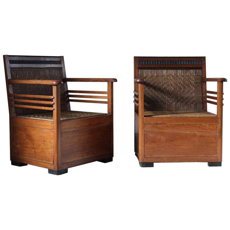 Interesting pair of 1930s teak armchairs for sale at 1stdibs for Interesting armchairs