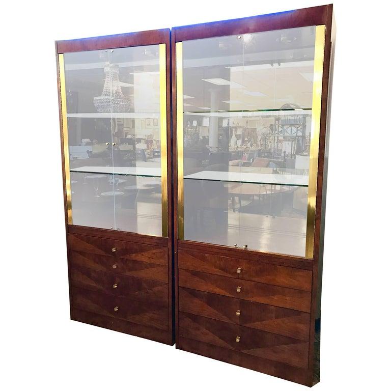 Pair of Henredon Display Cabinets Vitrines