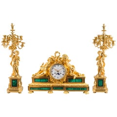 Louis XVI Style Garniture with Malachite, Complicated Movement, Bourdain à Paris