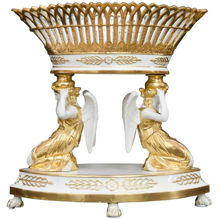 Late 19th Century French Empire Style Porcelain Centrepiece, Basket, Paris