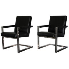 "Pair of Ralph Lauren ""Polo"" Chrome Framed Armchairs in Black Leather"