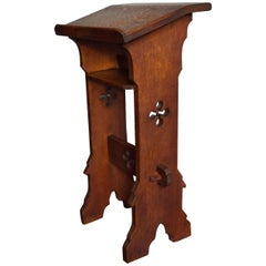 Oak Gothic Revival Bible or Book Stand for Children or for Kneeling or Sitting