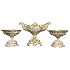 19th Century Rococo Garniture with Three Porcelain Baskets Signed Cappellemans