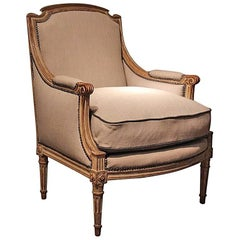 Large Louis XVI Style Painted Bergere, circa 1910