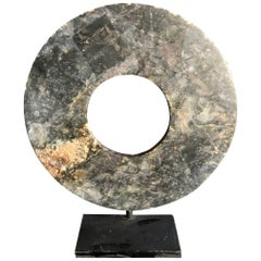 Important Ancient Chinese Heavenly Jade Bi Disc with Green and Blue Pattern
