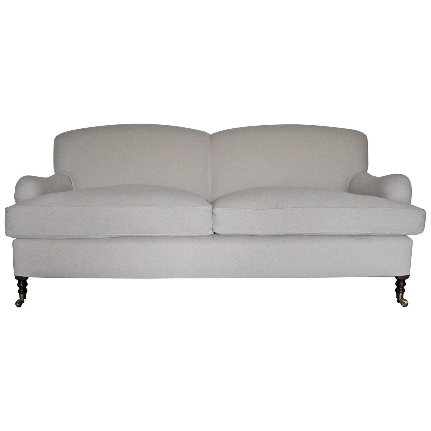"George Smith Signature ""Standard Arm"" Medium Sofa in Silver Grey"