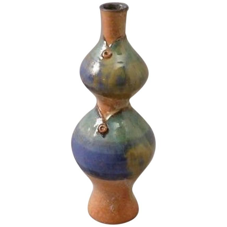 "Unique ""Double Fish Vase"" Handmade and Hand Glazed, Eva Fritz-Lindner For Sale"