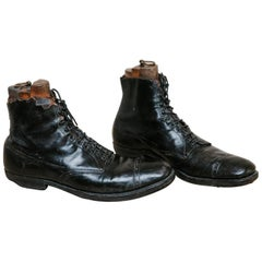 Early 20th Century Pair of Black Leather Giant Shoes