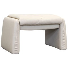 Erpo Lugano Designer Footstool Leather Crème One-Seat Couch Modern