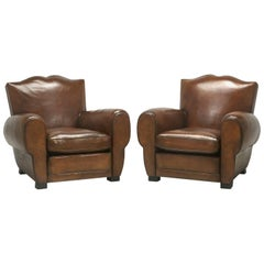 "Pair of French ""Moustache"" Style Leather Club Chairs, Correctly Restored"