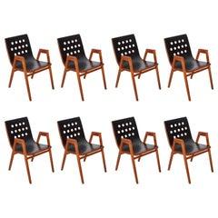 Set of Eight Roland Rainer 4-5-4 Arm Chairs Stadthallenstühle Wien