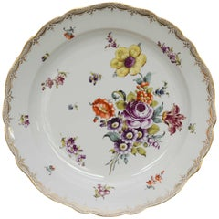 Large 19th Century Meissen Deep Plate with Floral Decoration