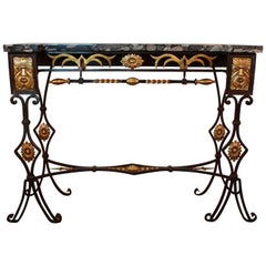 French Marble-Top Bronze and Iron Console