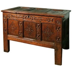 Early 17th Century Yorkshire Oak Coffer or Joined Oak Chest, circa 1630