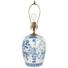 Ribbon Decorated Blue and White Table Lamp