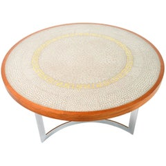 German Round Tile Mosaic and Wood Coffee Table by Berthold Muller , 1960s