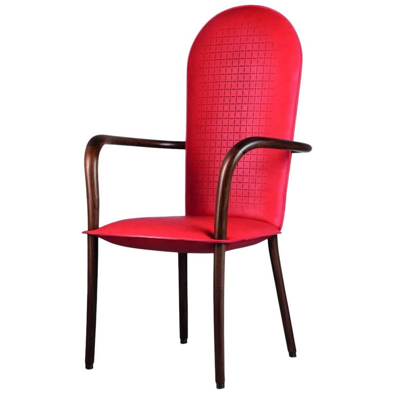 """Atena"" Leather and Canaletto Walnut Armchair by Alessandro Zambelli for Adele-C For Sale"