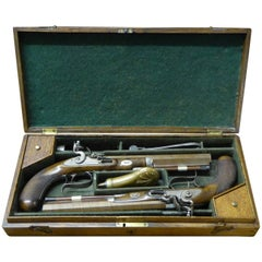 19th Century Pair of Cased Dueling Pistols