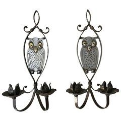 Pair of Handcrafted Arts & Crafts Owl Candle Light Sconces by Hugo Berger Goberg