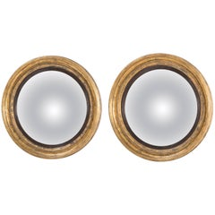 Pair of English Regency Convex Bullseye Mirrors