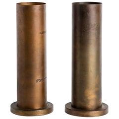 Pair of Robert Long Bronze Cylinder Lamps