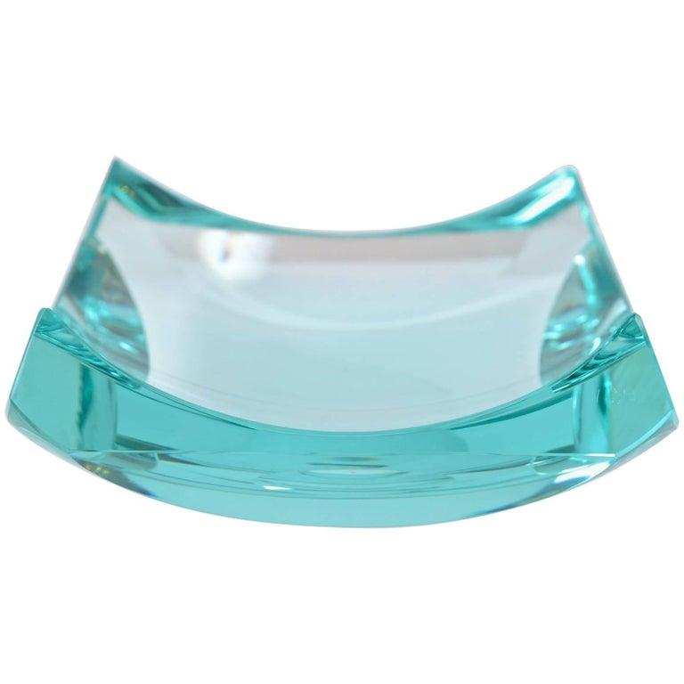 Fontana Arte Aquamarine Glass Dish For Sale
