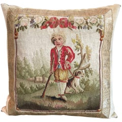 18th Aubusson Tapestry of a Man with a Spaniel Pillow