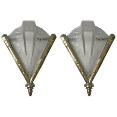 Pair of French Art Deco Geometric Sconces Signed by Muller Frères