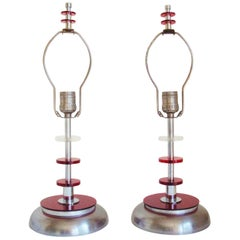 Pair of American Mid-Century Lucite, Chrome and Steel Table Lamps