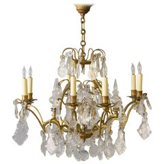 French Gilt Metal and Crystal Ten-Arm Chandelier