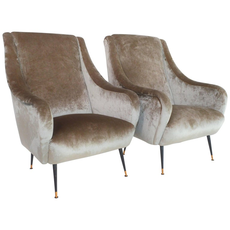 1950s Lounge Armchairs Re Upholstered In Multicolored: Italian Armchairs In Soft Grey Velvet Restored And